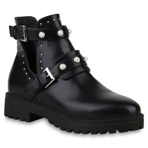 Mytrendshoe Damen Stiefeletten Ankle Boots Zierperlen Plateau Booties Cut Outs 825621, Farbe: Schwarz, Größe: 39