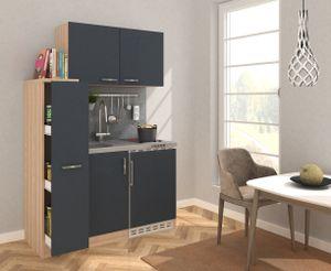 respekta Küche Miniküche Küchenzeile Küchenblock 130 cm Eiche Sägerau grau