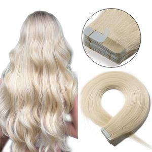 S-noilite Tape Extensions Echthaar Haarverlängerung Klebeband Haarteile Glatt 100% remy Haar 20stück Verlängerung +10pcs free tapes Platinumblond 45 cm