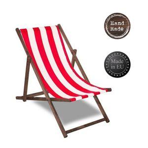 Liegestuhl Strandliege Sonnenliege Gartenliege Holz Liege 120 kg imprägniert - rot/weiß