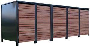 5 Premium Tailor-Mülltonnenboxen für 240 Liter Tonnen Anthrazit / Front-Edelholz