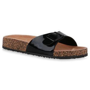 Mytrendshoe Damen Sandalen Pantoletten Hausschuhe Schuhe 835056, Farbe: Schwarz, Größe: 38