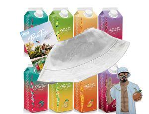 Capital BraTee 8er Tasting Set Eistee je 750ml mit Autogrammkarte und Hut BRATEE Ice tea 2x Wassermelone 2x Zitrone 2x Pfirsich 2x Granatapfel - mit Capi-Qualitäts-Siegel