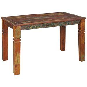 WOHNLING Esszimmertisch Kalkutta 120 x 70 x 76 cm | Massivholz Esstisch für 4-6 Personen | Küchentisch Bootsholz Shabby Chic | Tisch Esszimmer rechteckig