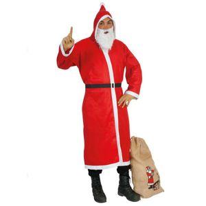 Weihnachtsmann-Set: Mantel, Bart, Gürtel + Sack