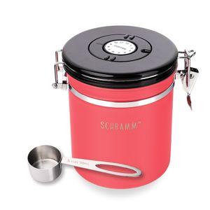 Schramm® Kaffeedose 1500 ml in 10 Farben mit Dosierlöffel Höhe: 15cm Kaffeedosen Kaffeebehälter aus Edelstahl , Farbe:Rot