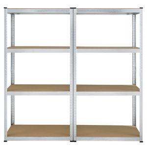 Juskys Lagerregal Easy 2er Set - Schwerlastregal 160x80x40 cm | 8 Böden | 640 kg | Metall verzinkt | Regale Kellerregal Metallregal