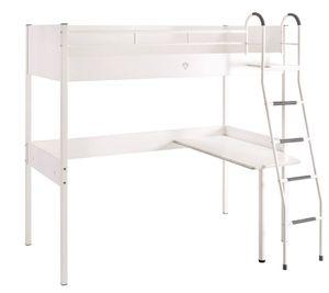 WHITE Hochbett (90x190cm) + Schreibtisch