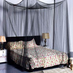 NEUFU Moskitonetz Doppelbett 190x210x240cm mit 4 Aufhängepunkten,Mückennetz Bett für Doppelbett Schwarz