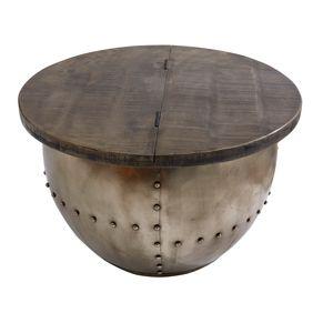 Design Couchtisch DRUMP STORAGE grau 68cm Mangoholz Industrial Wohnzimmertisch