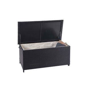 Poly-Rattan Kissenbox HWC-D88, Gartentruhe Auflagenbox Truhe  Premium schwarz, 51x100x50cm 170l