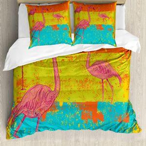 ABAKUHAUS Flamingo Mantele, Retro Vintage Flamingo, Milbensicher Allergiker geeignet mit Kissenbezügen, 155 cm x 200 cm - 80 x 80 cm, Mehrfarbig