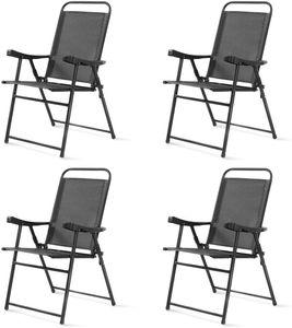 COSTWAY 4er Set Gartenstuhl, Klappstuhl aus Textilene, Terrassenstuhl Hochlehner, Campingstuhl klappbar, Klappsessel am Pool, im Garten, auf Rasen, dunkelgrau