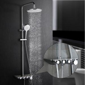 3-Funktion Duschsystem mit Regal Regendusche Duschset Duscharmatur Dusche Rainshower inkl. Handbrause Überkopfbrause Brausestange
