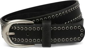 styleBREAKER Nietengürtel mit Lochnieten, Vintage Nieten Gürtel, kürzbar, Unisex 03010080, Farbe:Schwarz, Größe:90cm