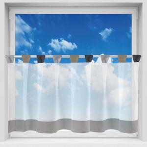 Bistrogardine mit Schlaufen, Größe: 150x45cm, Farbe: Grau