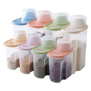 Elinala müsli aufbewahrung, 8 Stücke Schüttdosen Set, Beschriftete Aufbewahrungsboxen für die Küche mit Deckel für Trockenfutter, Getreide und Mehl