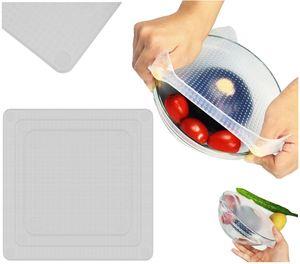 Silikondeckel in Verschiedenen Größen Flexibel für Schüsseln Becher Dosen Obst Silikon Abdeckung  Wiederverwendbare 4 Stück 8650