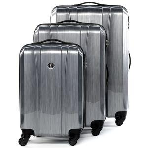 FERGÉ 3er Kofferset Dijon ABS & PC graphite-metallic 3er Hartschalenkoffer Roll-Koffer 4 Rollen Kofferset Hartschale 3-teilig