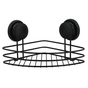 MSV Duschregal Eck Duschkorb Badezimmer ohne Bohren mit Saugnäpfen Stahl Verchromt 21,5x21,5x13cm Schwarz matt