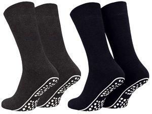 Tobeni 2 Paar Home Socks ABS Stoppersocken Anti-Rutsch Baumwolle Socken für Damen und Herren, Farbe:Anthrazit-Marine, Grösse:35-38