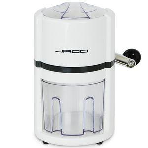 Jago Manueller Eiscrusher mit Auffangbehälter und Schaufel, in Weiß | Eiszerkleinerer | für Softdrinks, Cocktails