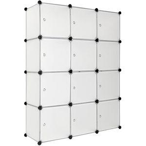 tectake Steckregal 12 Boxen mit Türen - weiß