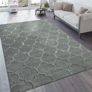 Designer Teppich Wohnzimmer 3D Effekt Marokkanisches Muster In Grau, Grösse:160x230 cm
