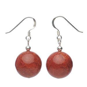 Ohrringe Ohrhänger aus echter Koralle Schaumkoralle Kugel & 925 Silber rot Damen