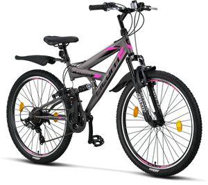 Licorne Bike Strong V Premium Mountainbike in 24 und 26 Zoll - Fahrrad für Jungen, Mädchen, Damen und Herren - Shimano 21 Gang-Schaltung - Vollfederung, Farbe:Anthrazit/Rosa, Zoll:26