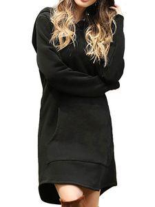Damen Hoodie Minikleid Kapuze Shirtkleid Partykleid Solide Kordelzug Pullikleid Riemchen