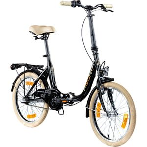 Agon Cruiser 20 Zoll Faltrad Klappfahrrad Gepäckträger Beleuchtung Fahrrad 3-Gang, Farbe:schwarz, Rahmengröße:35.5 cm