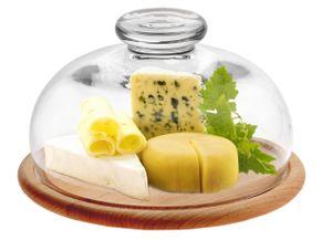 Glasglocke Käseglocke mit Schneidebrett Glashaube Kuchenglocke massiv Frischhalteglocke 21,7cm