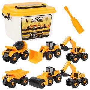 Montage  LKW Spielzeug DIY 6-in-1 BAU Bagger Spielzeug mit Schraubendreher für Kinder Jungen Mädchen 3 Jahren