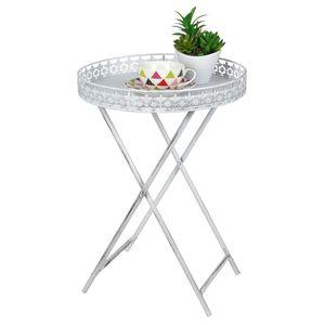 Tablett Tisch aus Metall in weiß - 40x59 cm