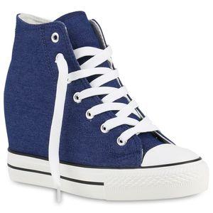 Mytrendshoe Damen Sneakers Keilabsatz Sneaker-Wedges Stoffschuhe Schnürer 892205, Farbe: Blau, Größe: 40