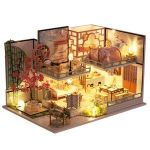 DIY Handwerk 3D Miniatur Puppe Haus Möbel Kits Romantische Modernen Chinesischen Stil Villa Haus Selbst Montiert mit Staubdicht Abdeckung Geburtstag