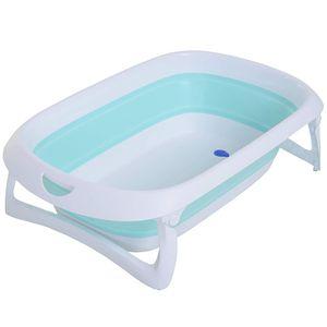 HOMCOM Badewanne für Babys Ergonomische Babywanne rutschfest klappbar Kunststoff Hellgrün 80 x 48 x 21 cm
