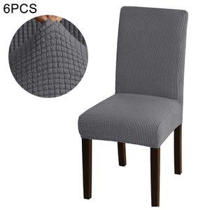6 Stück rutschfester und schmutzabweisender Stuhlbezug, Stuhlbezug aus Stretchgewebe, maschinenwaschbarer Stuhlbezug, wasserdichter Stuhlbezug (grau)
