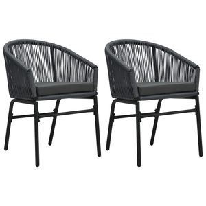 vidaXL Gartenstühle 2 Stk. Anthrazit PVC Rattan