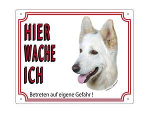 Nobby Warntafel Deutscher Schäferhund Weiß 250 x 200 mm