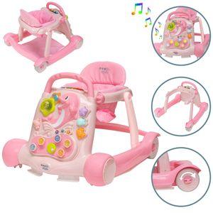 ib style® LITTLE DOLPHIN 2 in 1 Babywalker Lauflernwagen Lauflernhilfe Licht- und Soundeffekte ROSA
