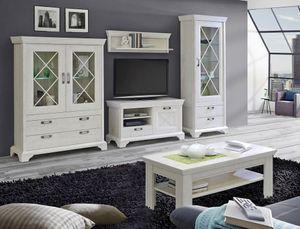Wohnzimmer Kasimir 31 Pinie weiß 5-teilig LED-Beleuchtung Landhausstil