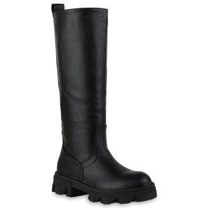VAN HILL Damen Leicht Gefütterte Plateaustiefel Stiefel Profil-Sohle Schuhe 837802, Farbe: Schwarz, Größe: 40