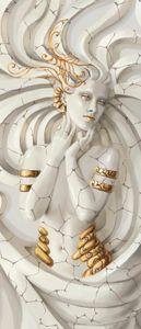 Türtapete Vlies Abstrakt Medusa Modern (91x211 cm) Türposter Fototapete Tür Wohnzimmer Schlafzimmer Wandtapete Tapete Latexdruck UV-Beständig Geruchsfrei Hohe Auflösung Montagefertig