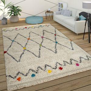 Teppich Bunt Beige Shaggy Flauschig Ethno Design Hochflor Punkte Rauten Muster, Grösse:120x170 cm