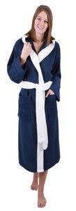 Betz Bademantel mit Kapuze PARIS 100% Baumwolle für Damen und Herren 2-farbig, Größe - L , Farbe blau-weiß