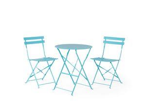 Balkonset blau 2 Stühle zusammenklappbar FIORI