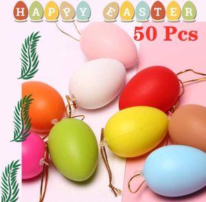 50 Stk Ostereier DIY Plastik Leer Eier Basteln Bemalen für Dekoration und Geschenk,Ornamente Bunt