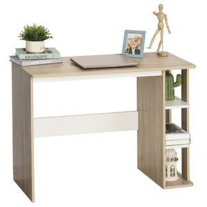 HOMCOM Schreibtisch mit Regal Bücherregal Computertisch Bürotisch Spanplatte Natur+Weiß 100 x 44 x 74 cm